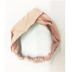 Sweet Pink Twist Gingham Headband